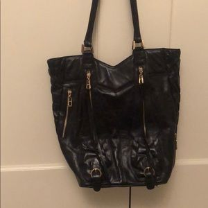 Black work leather tote with zipper details bag